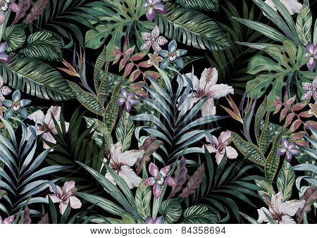 seamless tropical pattern with many exotic flowers