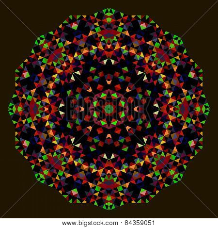 Abstract Flower. Creative Colorful Style Vector Wheel. Red Green Blue Orange Black Dominant Color
