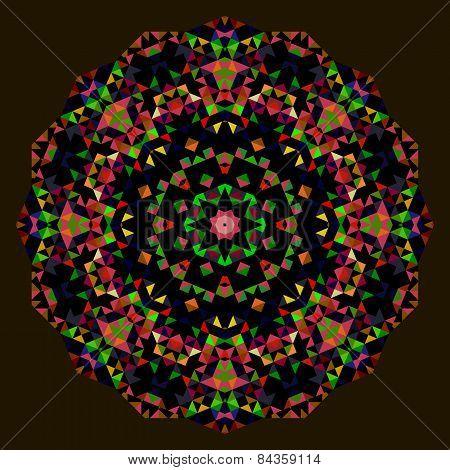 Digital Mosaic Circle. Creative Colorful Style Vector Wheel. Red Green Blue Orange Black Dominant Co