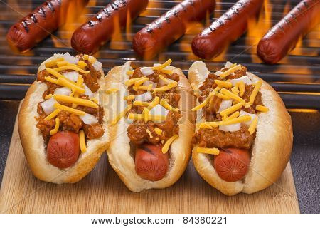 Chili Dogs with Cheese and Onions
