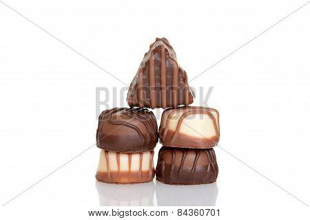stack assorted chocolates