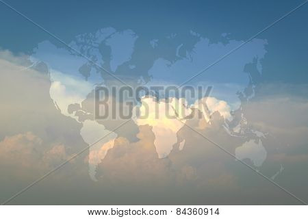 Blue Sky With World Map