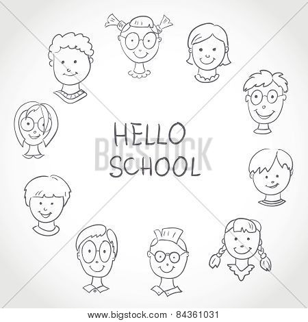 Hello School. Kids Face Set Sketch