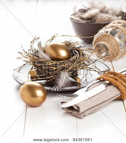 Table Decoration On White Wooden Background