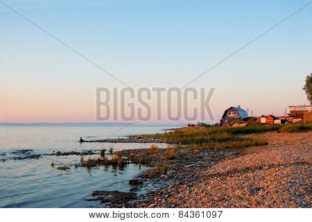 House in a village at Lake Baikal, Siberia, Russia