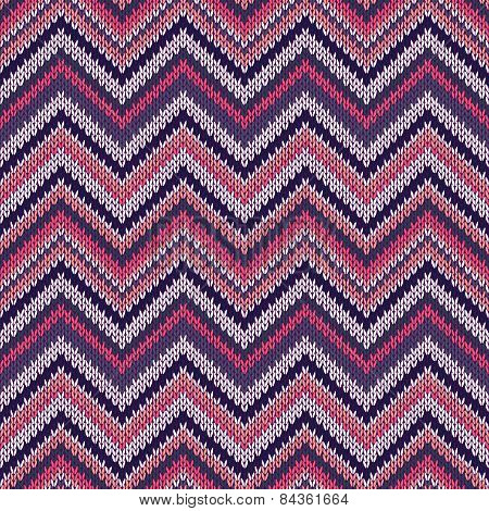 Seamless Geometric Ethnic Spokes Knitted Pattern. Blue White Red Pink Color Knitwear Sample