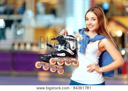Beautiful girl on the rollerdrome