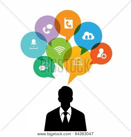 Mobile Business Talk Bubble Man