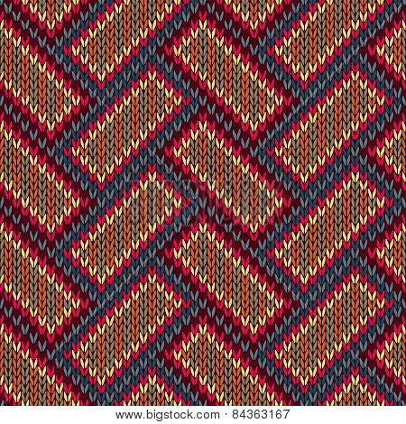 Vector Needlework Background, Red Orange Brown Ornamental Knitted Pattern