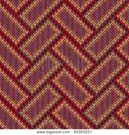Seamless Knitted Pattern. Yellow Orange Red Blue Brown Color Background
