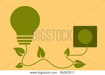 Green energy concept. Light bulb with leaves plugged in. Vector illustration.