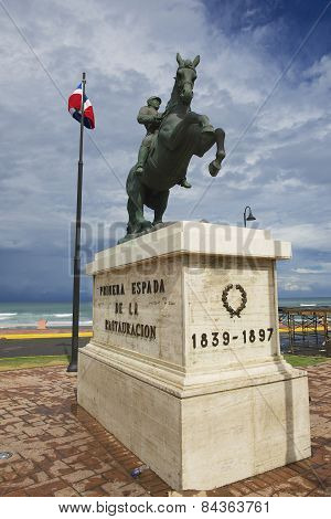 Equestrian statue to the general Gregorio Luperon in Puerto Plata, Dominican Re