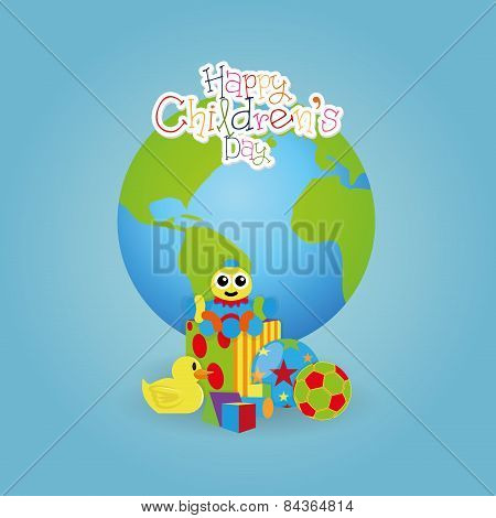 A different colored backgrounds with children text toys and our planet