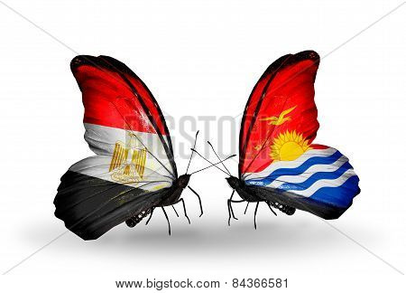 Two Butterflies With Flags On Wings As Symbol Of Relations Egypt And Kiribati