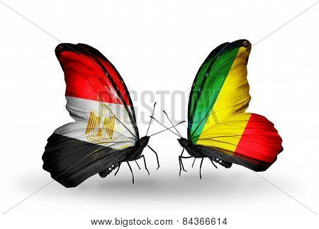 Two Butterflies With Flags On Wings As Symbol Of Relations Egypt And Kongo