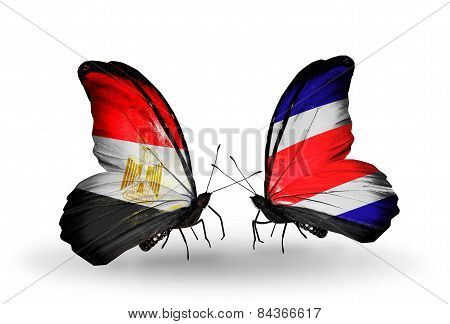 Two Butterflies With Flags On Wings As Symbol Of Relations Egypt And Costa Rica