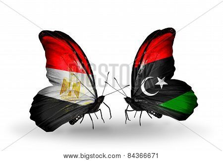 Two Butterflies With Flags On Wings As Symbol Of Relations Egypt And Libya