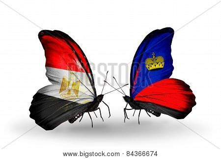 Two Butterflies With Flags On Wings As Symbol Of Relations Egypt And Liechtenstein
