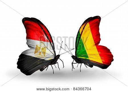 Two Butterflies With Flags On Wings As Symbol Of Relations Egypt And Mali
