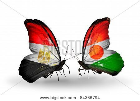 Two Butterflies With Flags On Wings As Symbol Of Relations Egypt And Niger