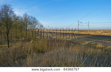 Railroad through the countryside in winter