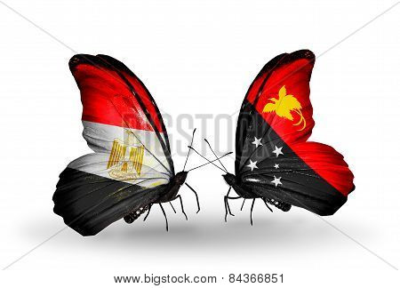 Two Butterflies With Flags On Wings As Symbol Of Relations Egypt And Papua New Guinea