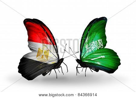 Two Butterflies With Flags On Wings As Symbol Of Relations Egypt And Saudi Arabia