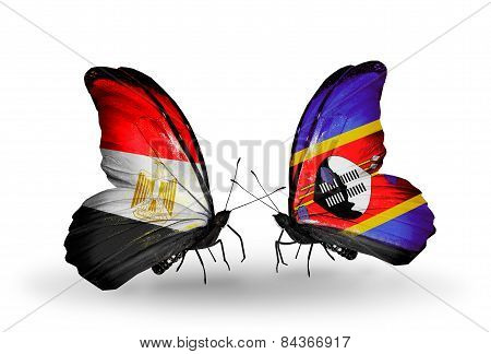 Two Butterflies With Flags On Wings As Symbol Of Relations Egypt And Swaziland