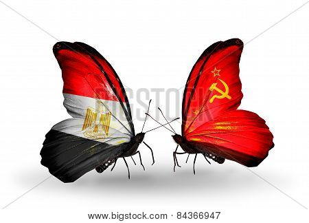 Two Butterflies With Flags On Wings As Symbol Of Relations Egypt And Soviet Union