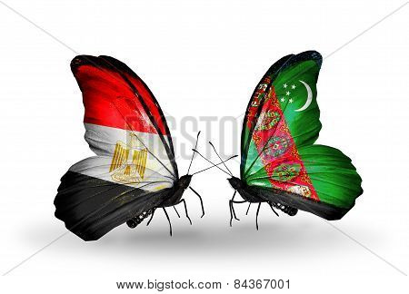 Two Butterflies With Flags On Wings As Symbol Of Relations Egypt And Turkmenistan