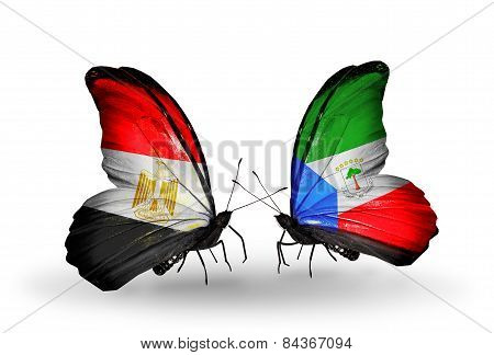 Two Butterflies With Flags On Wings As Symbol Of Relations Egypt And Equatorial Guinea