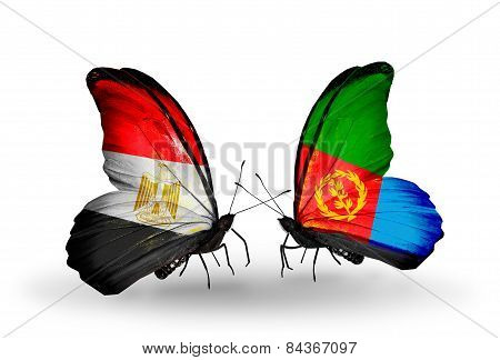 Two Butterflies With Flags On Wings As Symbol Of Relations Egypt And Eritrea