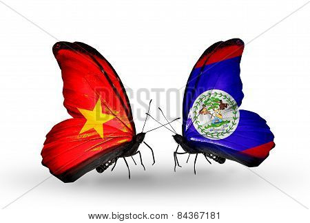 Two Butterflies With Flags On Wings As Symbol Of Relations Vietnam And Belize
