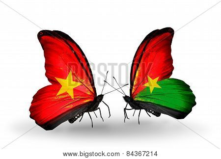Two Butterflies With Flags On Wings As Symbol Of Relations Vietnam And Burkina Faso