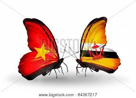 Two Butterflies With Flags On Wings As Symbol Of Relations Vietnam And Brunei