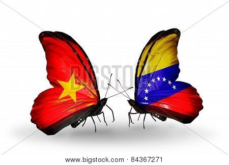 Two Butterflies With Flags On Wings As Symbol Of Relations Vietnam And Venezuela