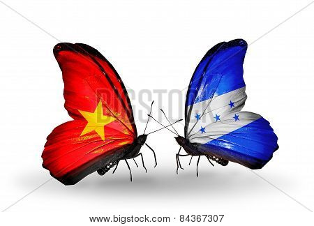 Two Butterflies With Flags On Wings As Symbol Of Relations Vietnam And Honduras