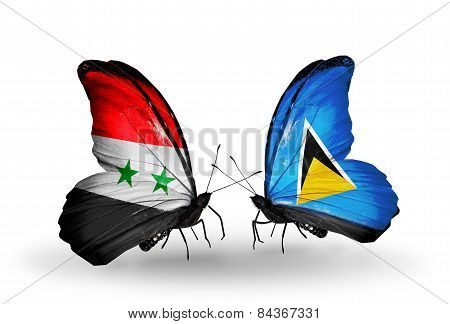 Two Butterflies With Flags On Wings As Symbol Of Relations Syria And Saint Lucia