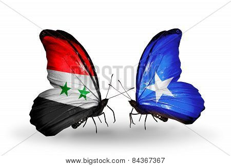 Two Butterflies With Flags On Wings As Symbol Of Relations Syria And Somalia