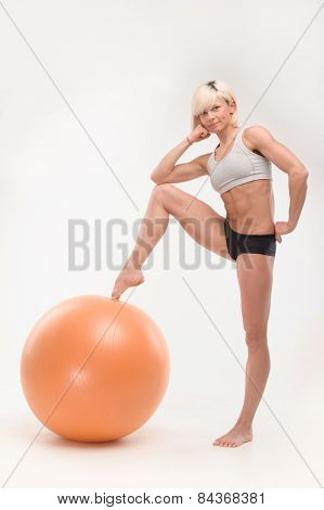 sports young girl with fitball