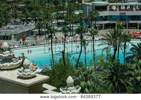 Las Vegas, Nv -  June 11, 2013:  People At Artificial Beach In Mandalay Bay Hotel In Las Vegas On Ju