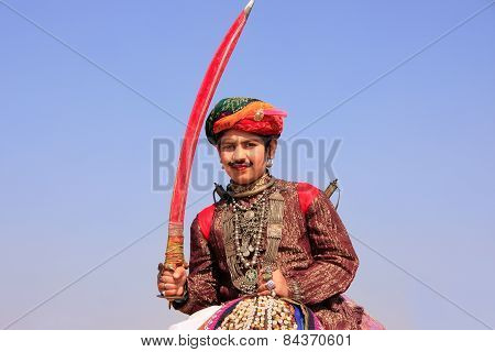 Jaisalmer, India - February 16: Unidentified Boy Takes Part In Desert Festival On February 16, 2011