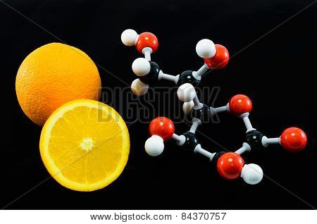 Orange And Vitamin C Structure Model (ascorbic Acid)