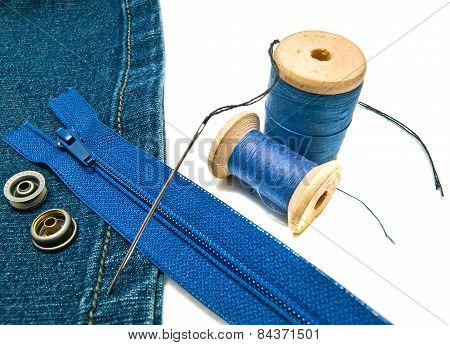 Blue Denim With Zipper And Buttons