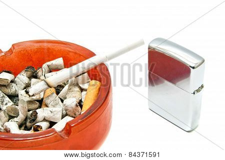 Metal Silver Lighter And Cigarette
