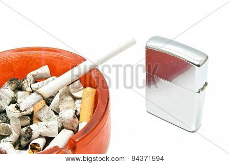 Metal Lighter And Single Cigarette