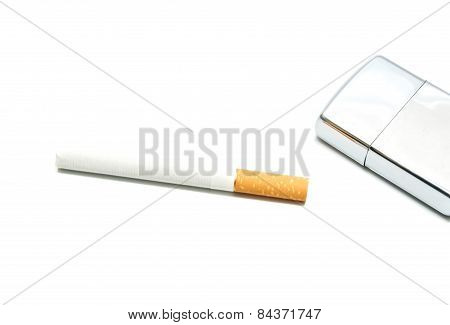 One Cigarette And Silver Lighter