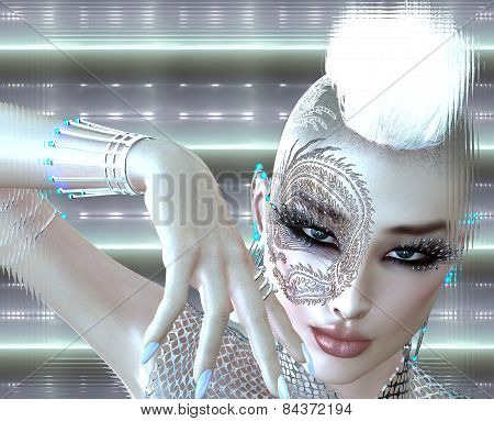 Dragon tattoo sci fi girl with futuristic outfit, Mohawk hairstyle