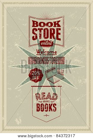 Typography retro bookstore poster design. Vector illustration.