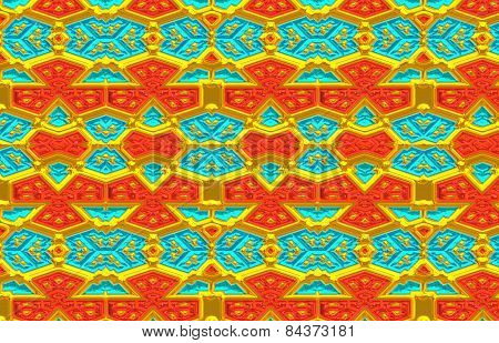 Background of turquoise,gold and orange colored repeating patterns.